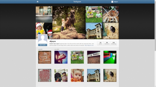 My Instagram profile page.