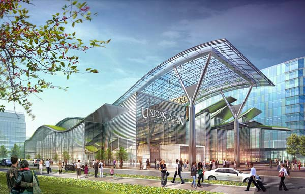 A rendering of what Union Station's train shed may look like someday if ambitious plans to redevelop the station and the surrounding neighborhood come to fruition.