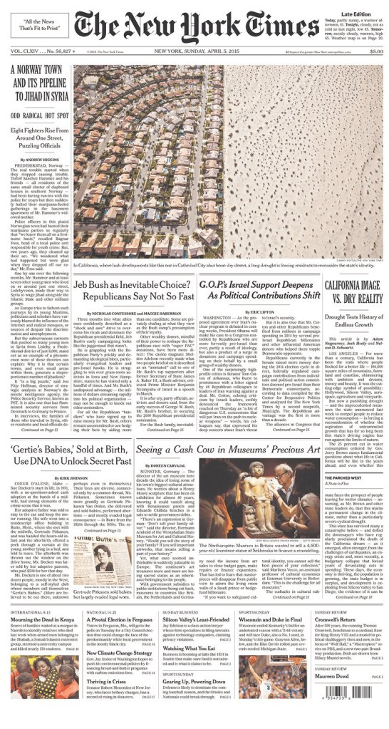 The New York Times front page, 5 April 2015