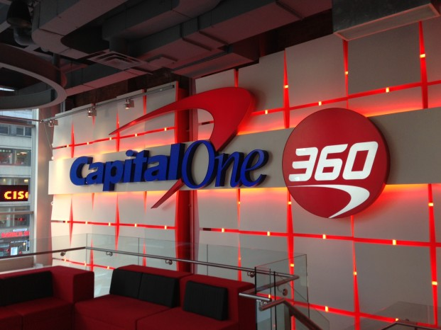 Capital One 360's illuminated logo, inside its Manhattan café. Via My Bank Tracker