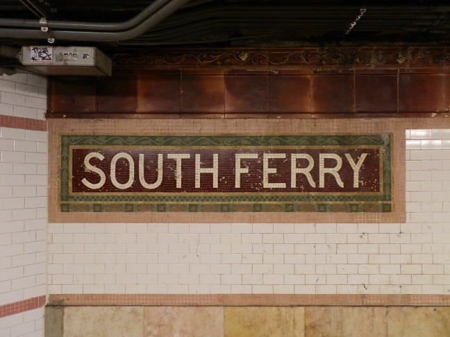 Mosaic station identification sign, South Ferry subway station, Manhattan (Heins & LaFarge, 1905)