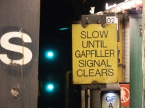 Train drivers must wait for gap fillers to retract and this signal to clear before proceeding out of the station.