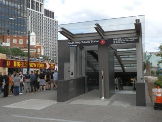 The most significant architectural and structural changes to the station can be found on the surface, where redesigned station entrances can be sealed off to protect the station from floodwaters. This entrance is at the northern end of the station, between Battery Park and State Street.