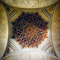 The complex woodwork and byzantine style of the dome's interior is one of the church's most beautiful features.