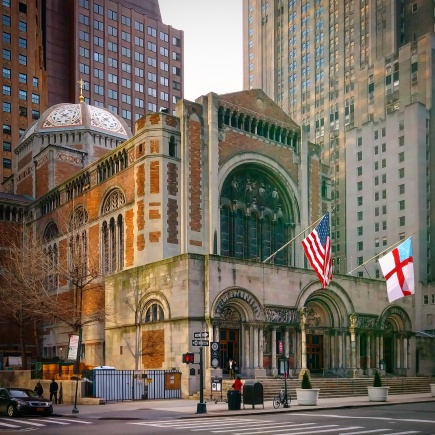 The exterior of the church from Park Avenue and East 51st Street.