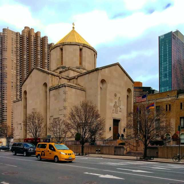 St. Vartan Armenian Cathedral in East Midtown, Manhattan. Though it was completed in 1968 with modern materials and architecture, the cathedral was modeled on a seventh-century church in Armenia.