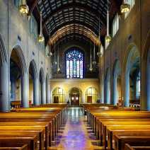The nave looking east toward the narthex.