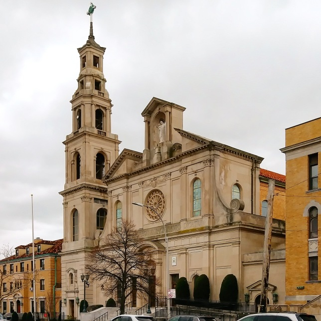 The Basilica of Regina Pacis in Bensonhurst, Brooklyn, was completed in 1951 and elevated to the status of minor basilica on 19 October 2012 by Pope Benedict XVI.