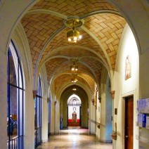 The narthex, or foyer. Note the Guastavino tiles in the vaulted ceiling. These tiles are also found in the aisles on either side of the nave as well as in a large expanse in the vault over the transept crossing. I found their use here both beautiful — I'm a big fan of Guastavino tiles — and surprising, since by the time of this church's construction in the late 1930s these tiles were past their heyday. There is a small chapel in a wing that extends north of the church at the far end of the narthex.