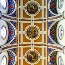 There are ten of these roundels in the barrel vault over the nave and transepts — one corresponding to each of the Ten Commandments.