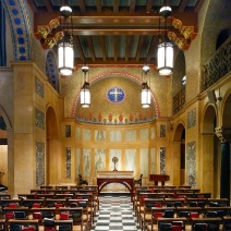 This chapel, on the north side of the main sanctuary, is smaller but just as rich in decoration, materials, and symbolism as the larger space.